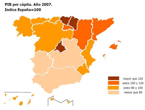 Aragón fue la comunidad autónoma donde más creció el PIB en 2007 y Asturias, la que menos